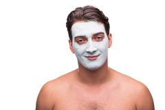 The man with mud mask isolated on white Royalty Free Stock Image