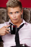 A man with a mug Stock Photo