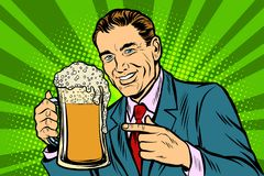 Man with a mug of beer foam. Comic cartoon pop art retro vector illustration drawing stock illustration