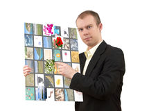 Man with multimedia tablet Royalty Free Stock Photos