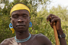 Mursi man. Man from mursi tribe, omo valley, Ethiopia Stock Image