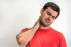 Man with muscle injury having pain in his neck Royalty Free Stock Photos