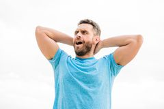 Man with muscular arm biceps. Healthy lifestyle key infinity life. Handsome strong guy isolated on white. Male beauty. And healthy body. Healthy and happy. Keep stock image