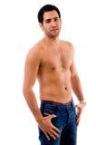 man muscular pose side Στοκ Εικόνες