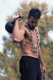 Man with muscular torso. Muscular Man Fitness Model Torso showing. stock photography