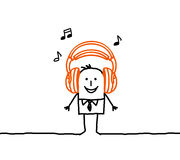 Man & music. Vector hand-drawn characters on line Royalty Free Stock Photo