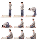 Man muslim doing prayer. Collection portrait of man muslim doing prayer isolated over white background royalty free stock images