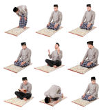 Man muslim doing prayer. Collection portrait of man muslim doing prayer isolated over white background stock photography