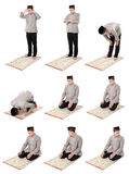 Man muslim doing prayer. Collection portrait of man muslim doing prayer isolated over white background stock image