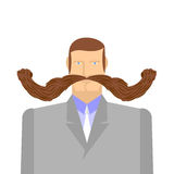 Man with mustache. Barbel. Big and heavy mustache. A middle-aged Stock Images