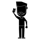 Man with mustache beard using smartphone pictogram Royalty Free Stock Images