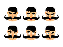 Man with mustache emotions. Vintage barbel expression. Angry and Royalty Free Stock Photography