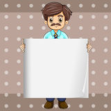 A man with a mustache holding an empty board Stock Images
