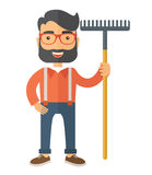 Man with a mustache holding rake. A caucasian man standing holding a rake ready for gardening. A Contemporary style. flat design illustration isolated white royalty free illustration
