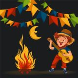 Man with mustache plays guitar near fire under moon vector illustration, Boy singing son at bonfire at night stock illustration