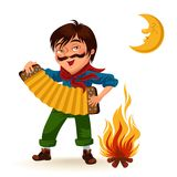 Man with mustache plays sanfona near fire under moon vector illustration, Boy holding accordion at bonfire at night.  Stock Image