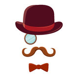 Man With Mustache Top Hat and Bow Tie Royalty Free Stock Image