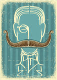 Man and mustaches.Retro Stock Photography