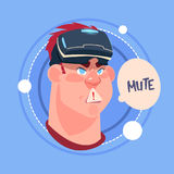 Man Mute Male Emoji Wearing 3d Virtual Glasses Emotion Icon Avatar Facial Expression Concept Royalty Free Stock Photography