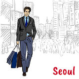Man at Myeongdong Royalty Free Stock Photo
