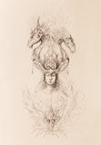 Man in mystic fire and ornamental dragons, pencil sketch on paper. Royalty Free Stock Image