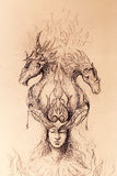 Man in mystic fire and ornamental dragons, pencil sketch on paper. Man in mystic fire and ornamental dragons, pencil sketch on paper Royalty Free Stock Image