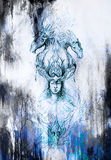 Man in mystic fire and ornamental dragons, pencil sketch on paper, blue vinter effect. Royalty Free Stock Photography