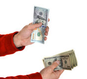 Man'n ręki z dolarowymi rachunkami Obrazy Royalty Free