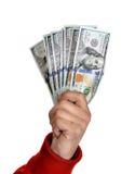 Man'n ręki z dolarowymi rachunkami Zdjęcie Stock