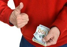 Man'n ręki z dolarowymi rachunkami Fotografia Stock