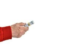 Man'n ręki z dolarowymi rachunkami Zdjęcie Royalty Free