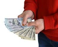 Man'n ręki z dolarowymi rachunkami Obrazy Stock