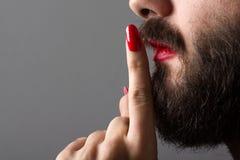 Man with Nail Polish and Lipstick Stock Photos