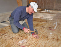 Man nailing down plywood sub-floor. In addition royalty free stock photos
