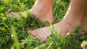 Man with naked feet walking on the grass. Healthy lifestyle stock video