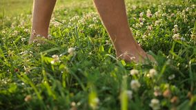 Man with naked feet walking on the grass. Healthy lifestyle stock footage