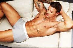 Man with naked muscular torso Stock Photos