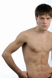Man with naked torso. Portrait of man wiyh naked torso isolated on white background Royalty Free Stock Images