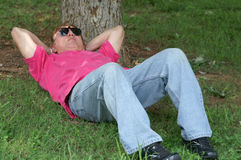 Man Napping On Ground Royalty Free Stock Photo