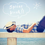 Man napping and text spring break Royalty Free Stock Photos