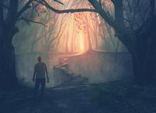 A man and a narrow path. A man in a forest approaches a narrow path to a beautiful opening stock illustration