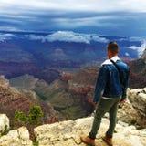 Man at National Grand Canyon Park Stock Photos