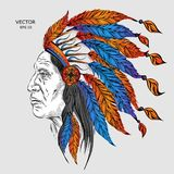 Man in the Native American Indian chief. Black roach. Indian feather headdress of eagle.  Hand draw vector illustration. Man in the Native American Indian chief Stock Photography