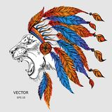 Man in the Native American Indian chief. Black roach. Indian feather headdress of eagle.  Hand draw vector illustration. Man in the Native American Indian chief Stock Photo