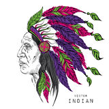 Man in the Native American Indian chief. Black roach. Indian feather headdress of eagle.. Hand draw vector Royalty Free Stock Photos