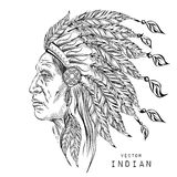Man in the Native American Indian chief. Black roach. Indian feather headdress of eagle. Hand draw vector illustration. Man in the Native American Indian chief royalty free illustration
