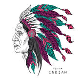 Man in the Native American Indian chief. Black roach. Indian feather headdress of eagle.  Hand draw vector illustration. Man in the Native American Indian chief Stock Photos