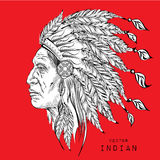 Man in the Native American Indian chief. Black roach. Indian feather headdress of eagle.  Hand draw vector illustration. Man in the Native American Indian chief Royalty Free Stock Photography