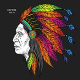 Man in the Native American Indian chief. Black roach. Indian feather headdress of eagle.  Hand draw vector illustration. Man in the Native American Indian chief Stock Images