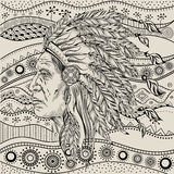 Man in the Native American Indian chief on  ethno pattern, tribal background. Indian feather headdress. Of eagle.  Hand draw Stock Images